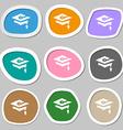 Graduation icon symbols Multicolored paper vector image