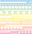 Stripes hearts and circle pattern rainbow pastel b vector image
