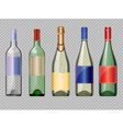 set of colored transparent glass alcohol vector image