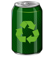Recycle symbol on green can vector image