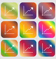 Chart icon sign Nine buttons with bright gradients vector image