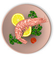 shrimp on a plate served with vegetables vector image