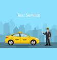 taxi driver yellow taxi vector image