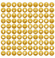 100 patisserie icons set gold vector image