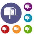 mailbox icons set vector image