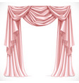 Pink curtain draped with pelmet isolated on a vector image vector image