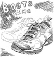 hiking boots doodle vector image