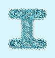 Cute letter I Floral monogram I vector image