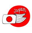 Hand drawn sketch of flag japan - red circle vector image