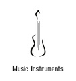 Musical instruments shop logo with guitar vector image