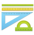 Three rulers and one protractor vector image