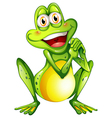 A cheerful green frog vector image