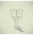 Vintage education open book tree vector image vector image