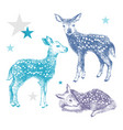 3 hand drawn colorful baby deers vector image