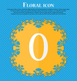 number zero icon sign Floral flat design on a blue vector image