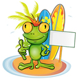 frog cartoon surfer on island background vector image