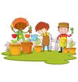 Gardeners planting tree and flower in garden vector image