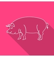 Icon Contour pork Flat style long shadows vector image