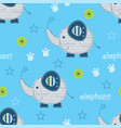 seamless pattern with cute elephants vector image