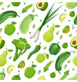seamless pattern with green vegetables and fruits vector image