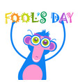 smiling monkey first april fool day happy holiday vector image