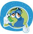 suffering planet earth cartoon ecology conc vector image