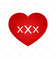 XXX sign on heart vector image