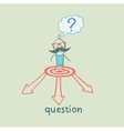 man with a question mark faces the choice of vector image vector image