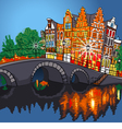 Amsterdam canal bridge and typical houses Holland vector image