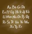 Brown Wood school desks set and hand-drawn chalk vector image