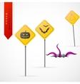 Haloween greeting card cartoon design vector image vector image