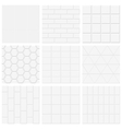 Set of white tiled texture backgrounds vector image