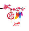 classic chinese new year blossom and lantern vector image