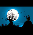 halloween poster - haunted house and evil tree vector image
