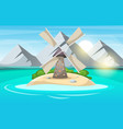 island cartoon mountain sun cloud wind mill vector image