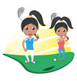 pretty woman athlete playing golf vector image