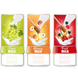 Set of three labels of fruit and berries in milk vector image