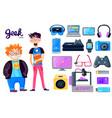 cartoon character gadgets icons set vector image