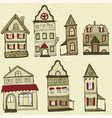 7 old styled houses vector image vector image
