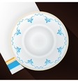 White plate with a blue pattern vector image