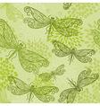 flying green dragonflies vector image