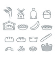 Bakery line icons Bread and baguette Food of dough vector image