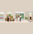 grocery shopping place interior of vector image