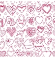 Hearts hand drawing doodlesColored seamless vector image