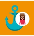 toursit female hat sunglasses anchor marine vector image