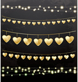 Garlands with Golden Hearts vector image