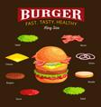 set of burger grilled beef vegetables dressed with vector image