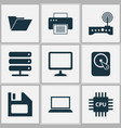 notebook icons set collection of motherboard vector image