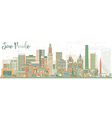 Abstract Sao Paulo Skyline with Color Buildings vector image vector image