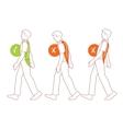 Correct spine posture bad walking position vector image